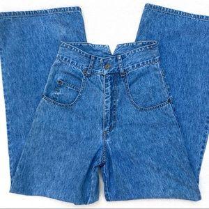 "70s Vintage 12"" High Waist Wide Leg Denim Trousers"